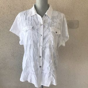 Chico's White Embroidered Button Down Shirt 3/16